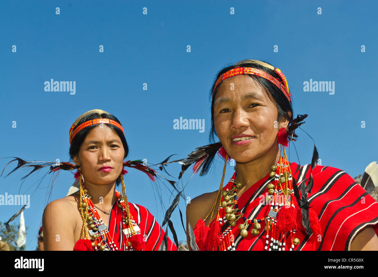 Women of the Phom tribe at the annual Hornbill Festival, Kohima, Nagaland, India, Asia Stock Photo
