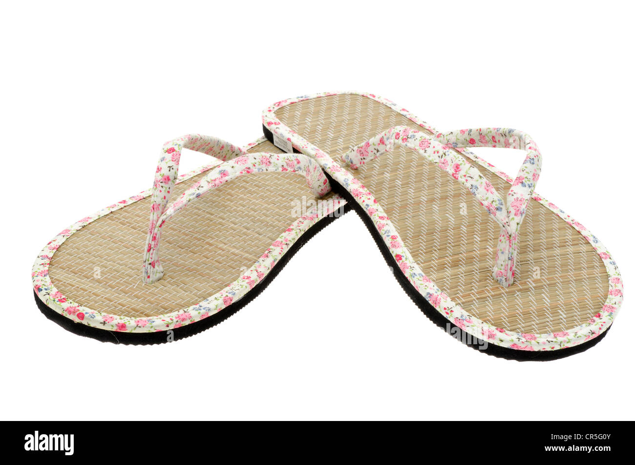 Ladies flip-flop summer sandals - image taken in the studio with a white background - Stock Image