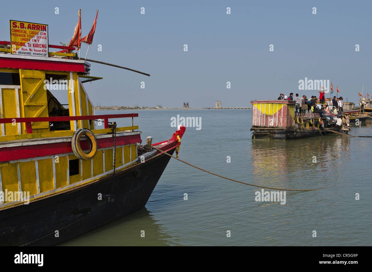 Ferryboats, waiting for customers to cross Brahmaputra River, Ghat, Assam, India, Asia - Stock Image