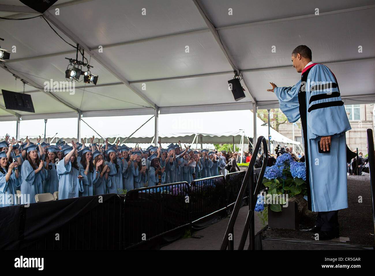 US President Barack Obama leaves the stage after delivering the Barnard College commencement address on the campus - Stock Image