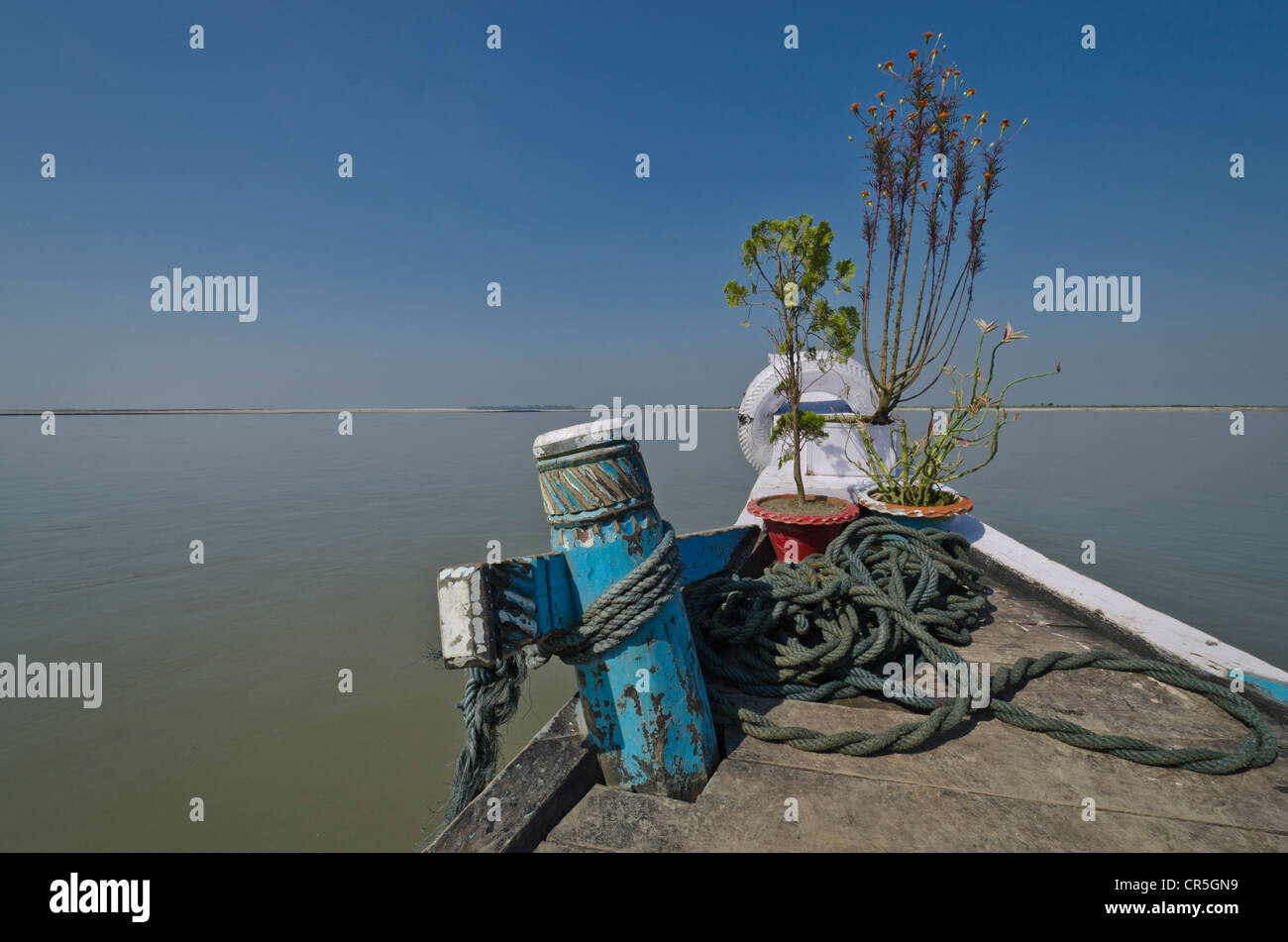 Bow of a rustic ferry-boat at Jorhat which takes more than one hour to cross the mighty Brahmaputra River, India, - Stock Image
