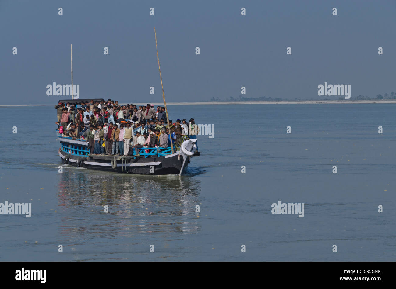 Rustic ferry-boat at Jorhat takes more than one hour to cross the mighty Brahmaputra River, India, Asia - Stock Image