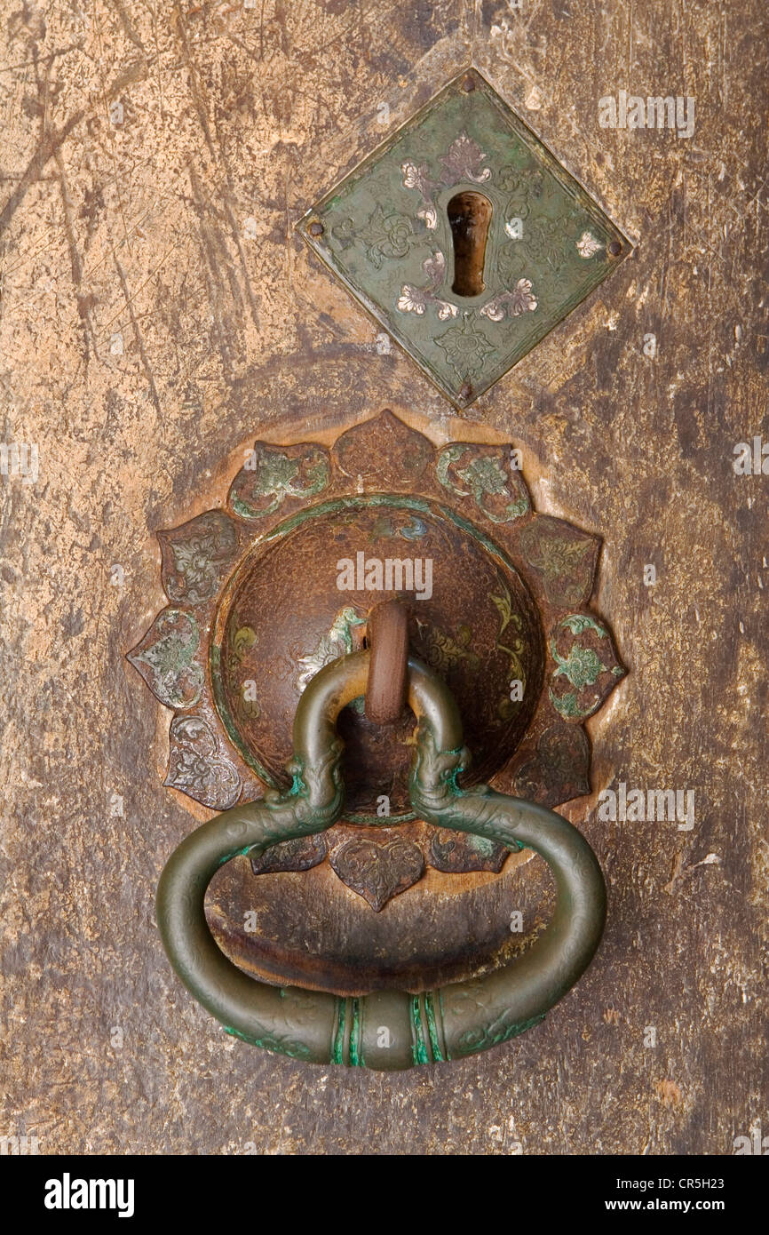 Door Handle On Entrance To Devana Alut Viharaya Cave, Dambulla, Central,  Sri Lanka
