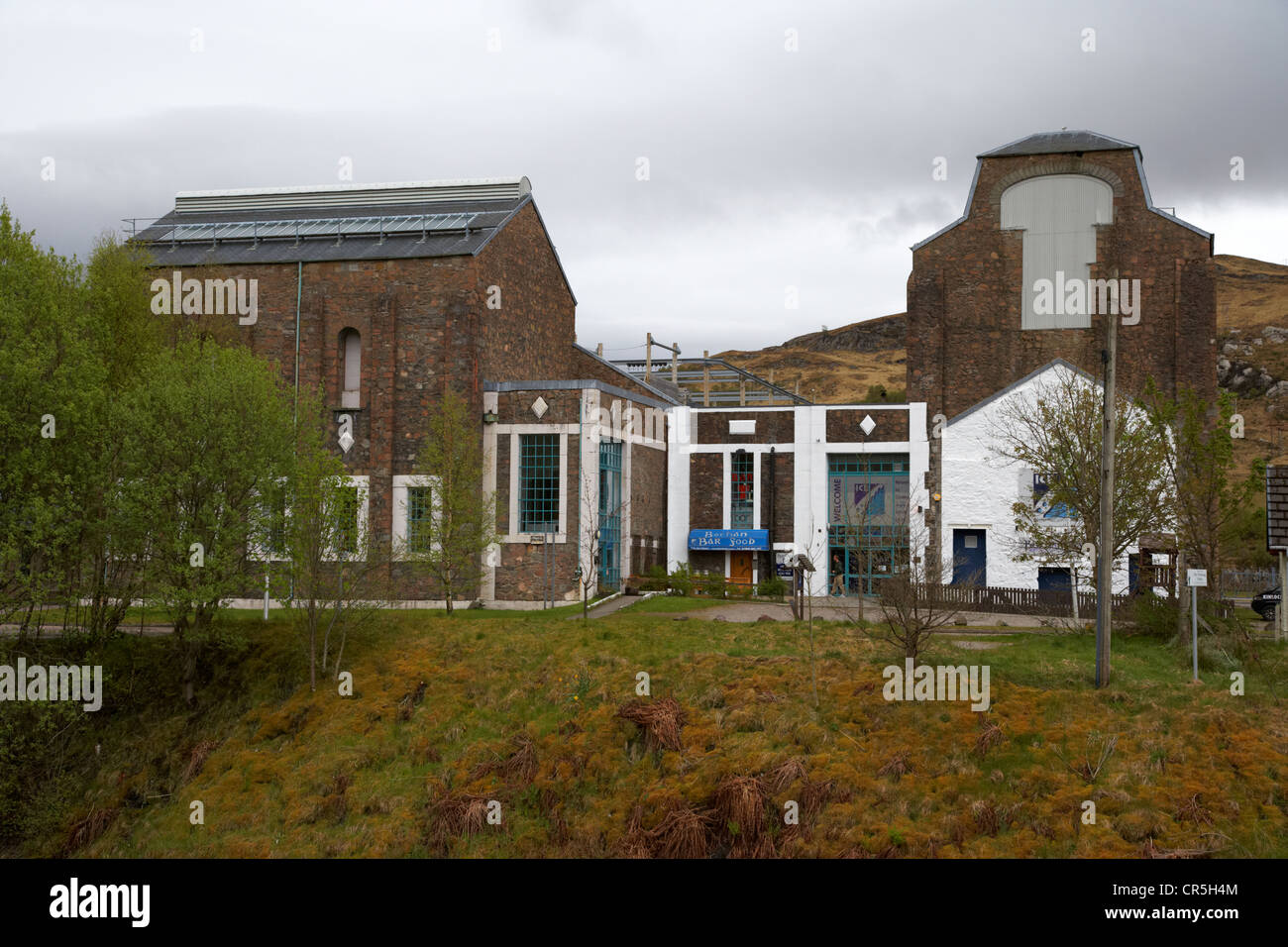 The atlas brewery and the ice factor indoor ice climbing wall in the disused aluminium works kinlochleven highland - Stock Image