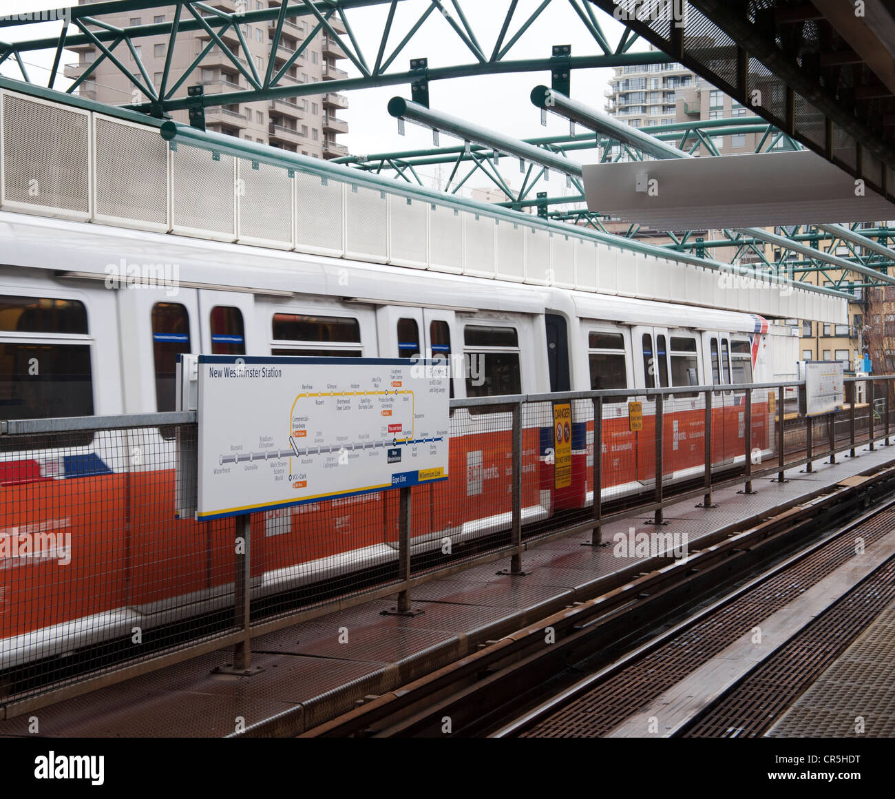 Skytrain at New Westminster station, near Vancouver, British Columbia, Canada Stock Photo