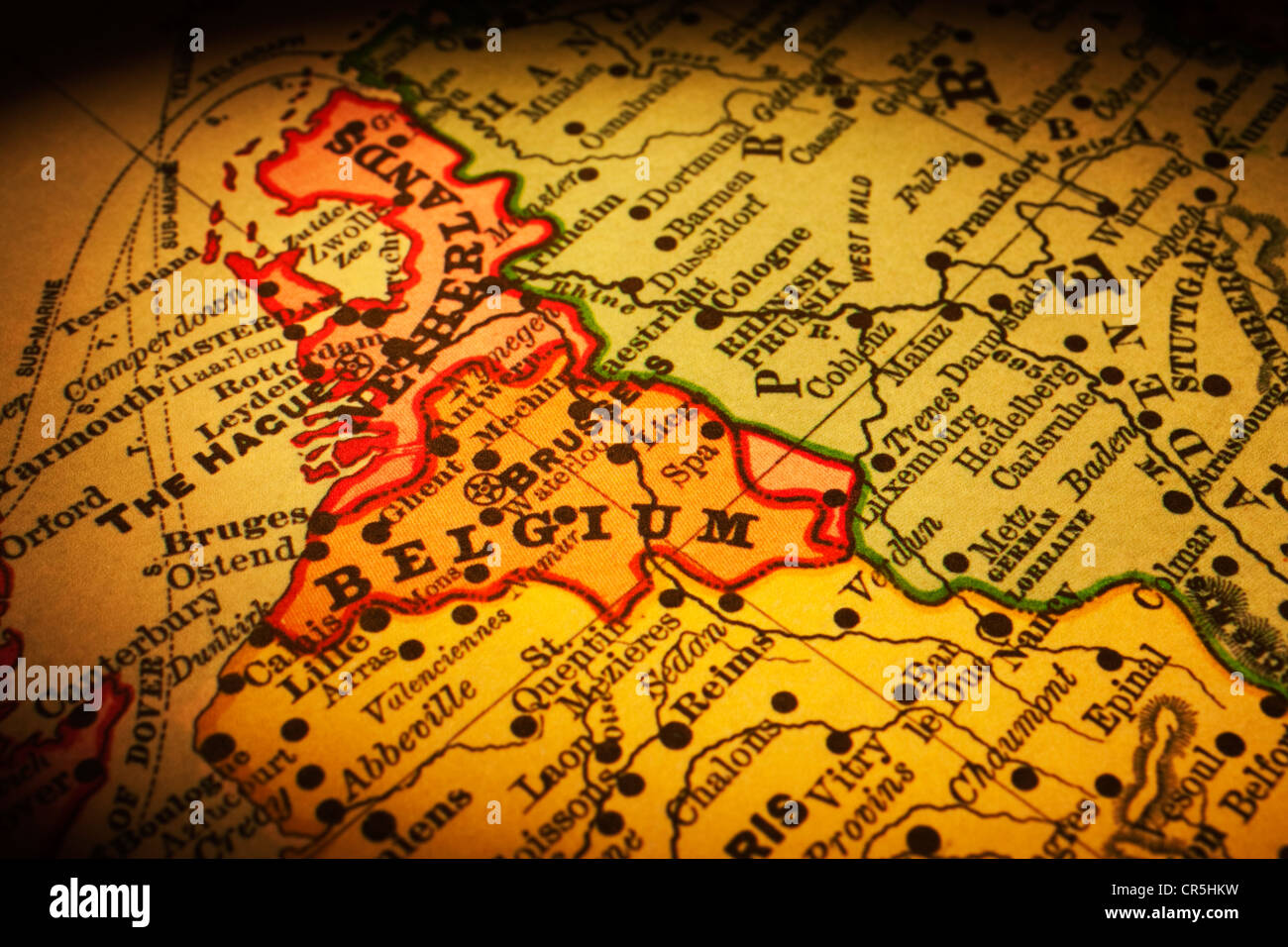 old map of belgium and its position in europe map is from 1894 and is
