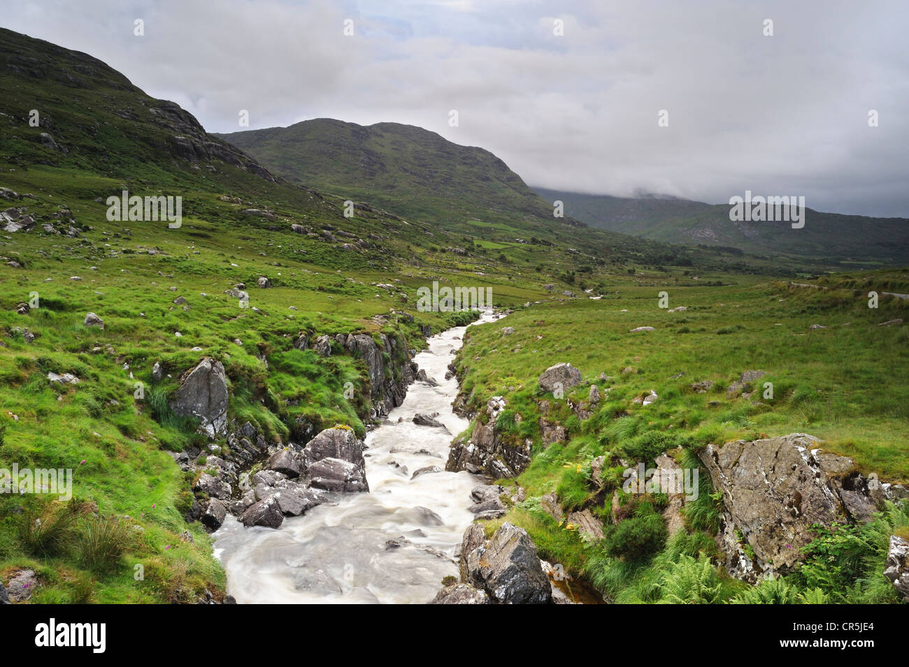 Mountain stream, Healy Pass, West Cork, Ireland - Stock Image