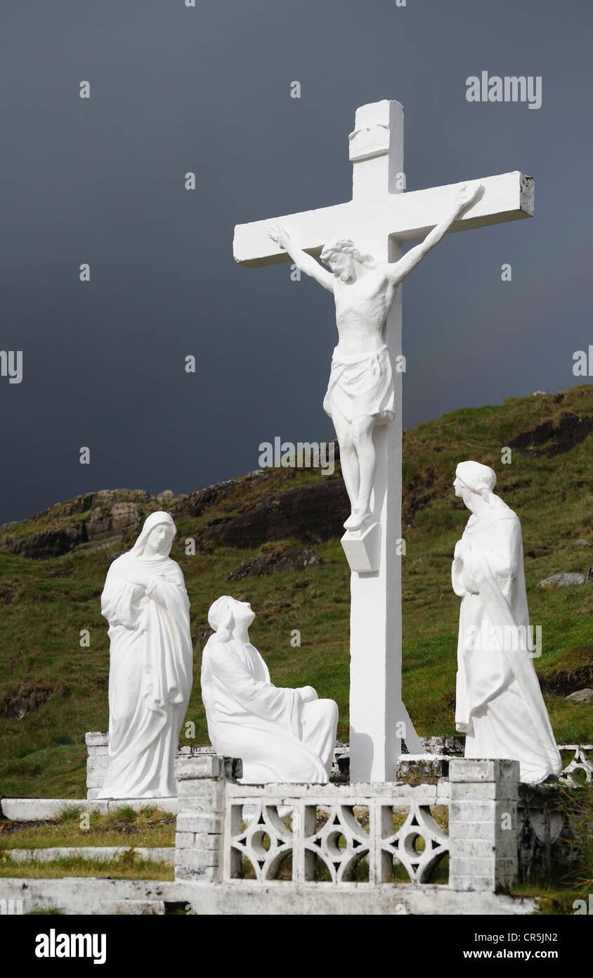 Crucifix, Healy Pass, West Cork, Ireland - Stock Image