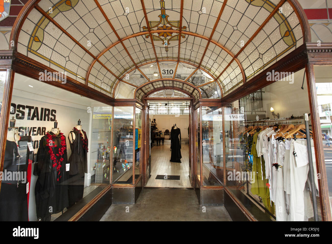 Entrance to Plume fashion boutique, George Street, Dunedin, South Island, New Zealand - Stock Image