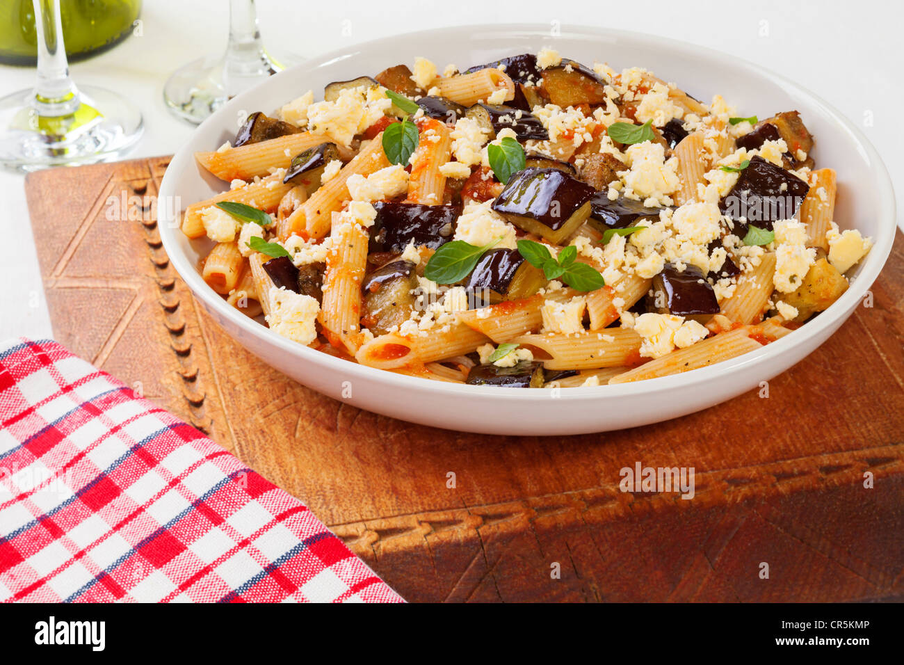The national dish of Sicily, Pasta alla Norma tastes wonderful. - Stock Image