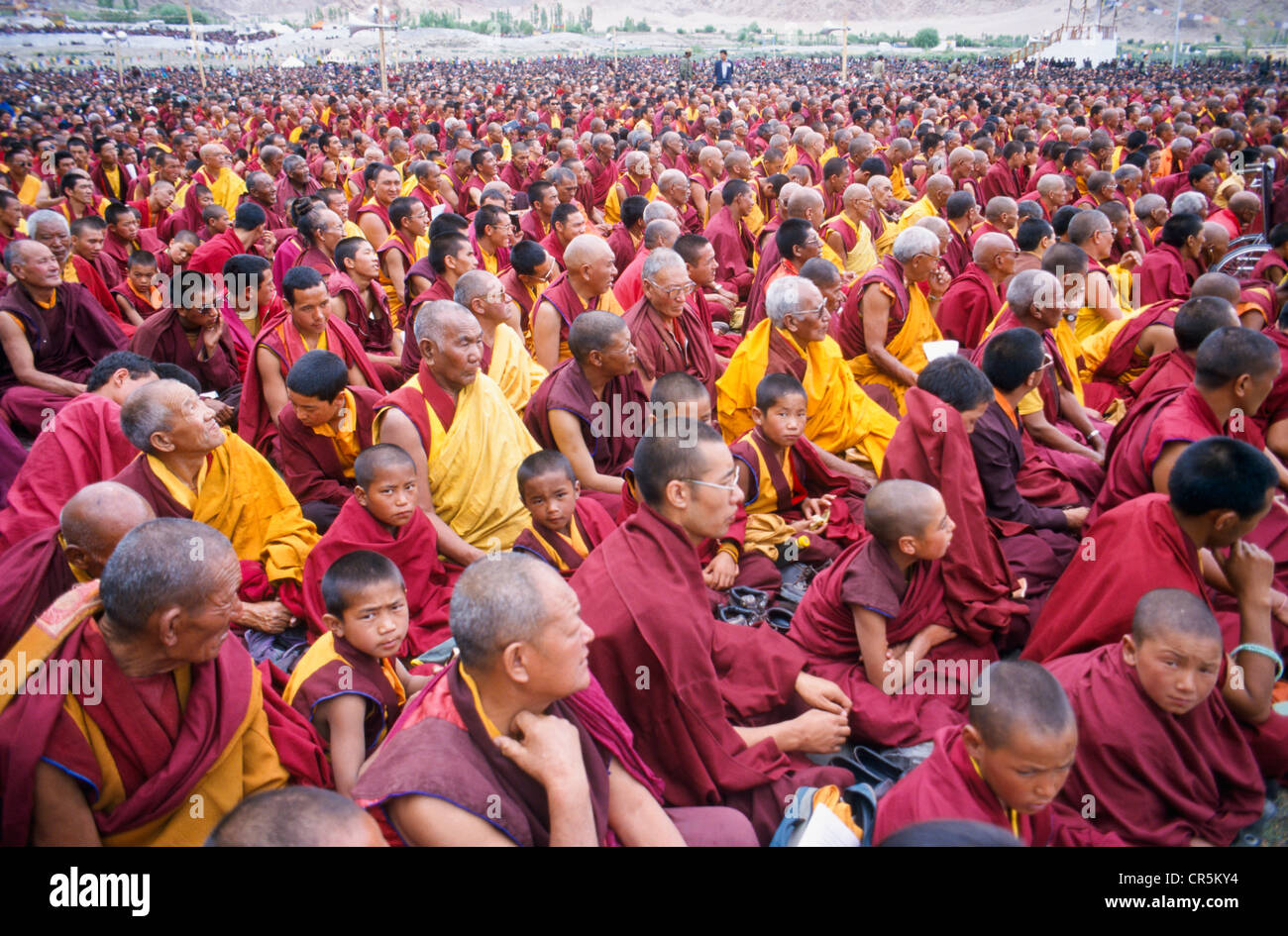 Thousands of Buddhist monks listening to the teachings of the Dalai Lama, Leh, Jammu and Kashmir, India, Asia - Stock Image