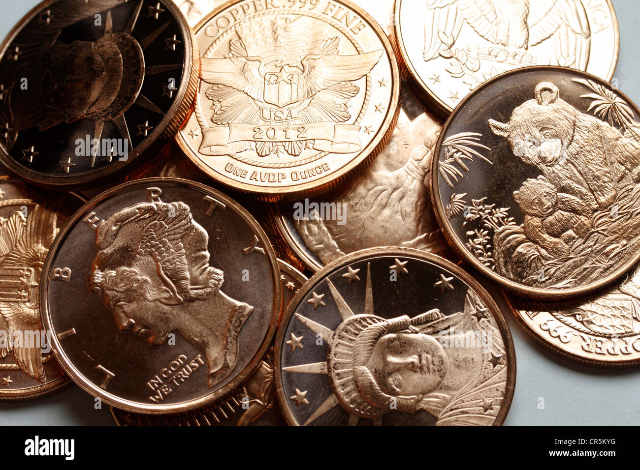 1 ounce copper coins - popular with preppers for use as currency in a post apocalyptic world - Stock Image