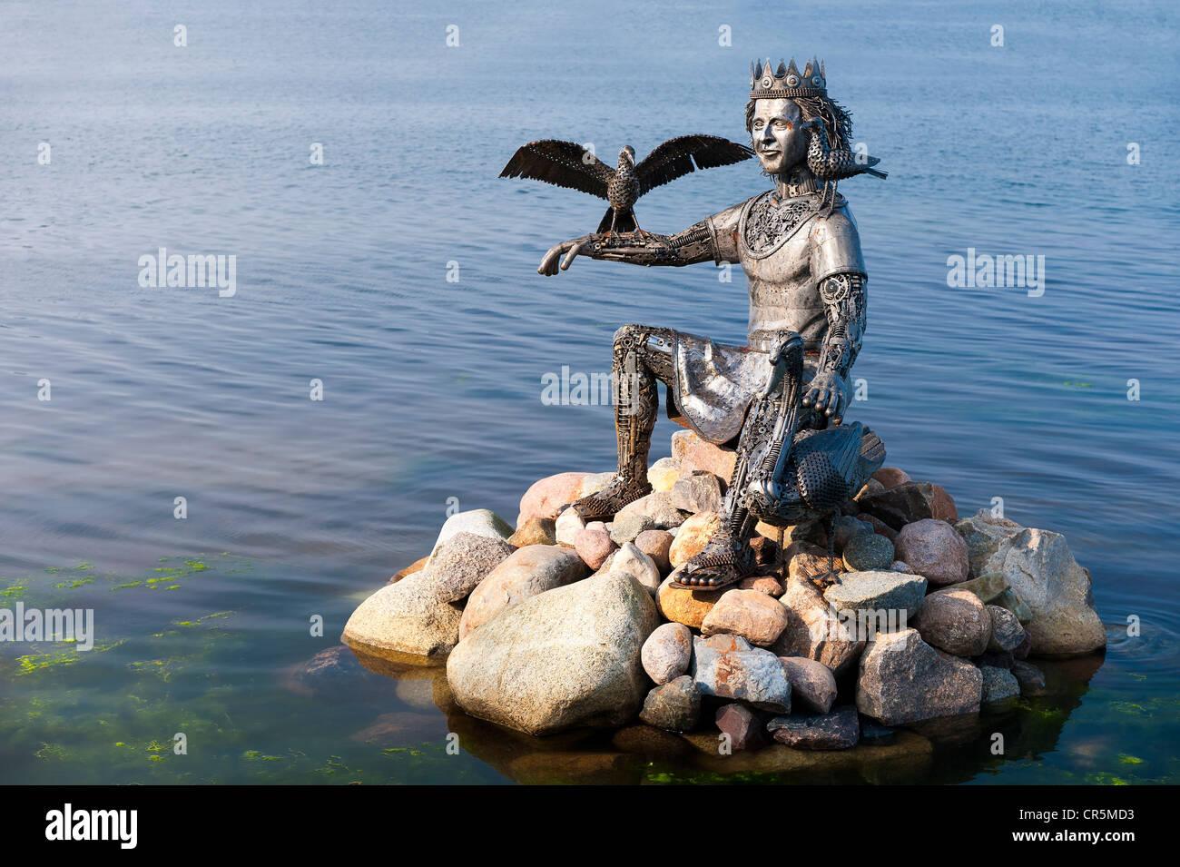 Norse God Njord, sculpture in Heiligenhafen, Schleswig-Holstein, Germany, Europe - Stock Image