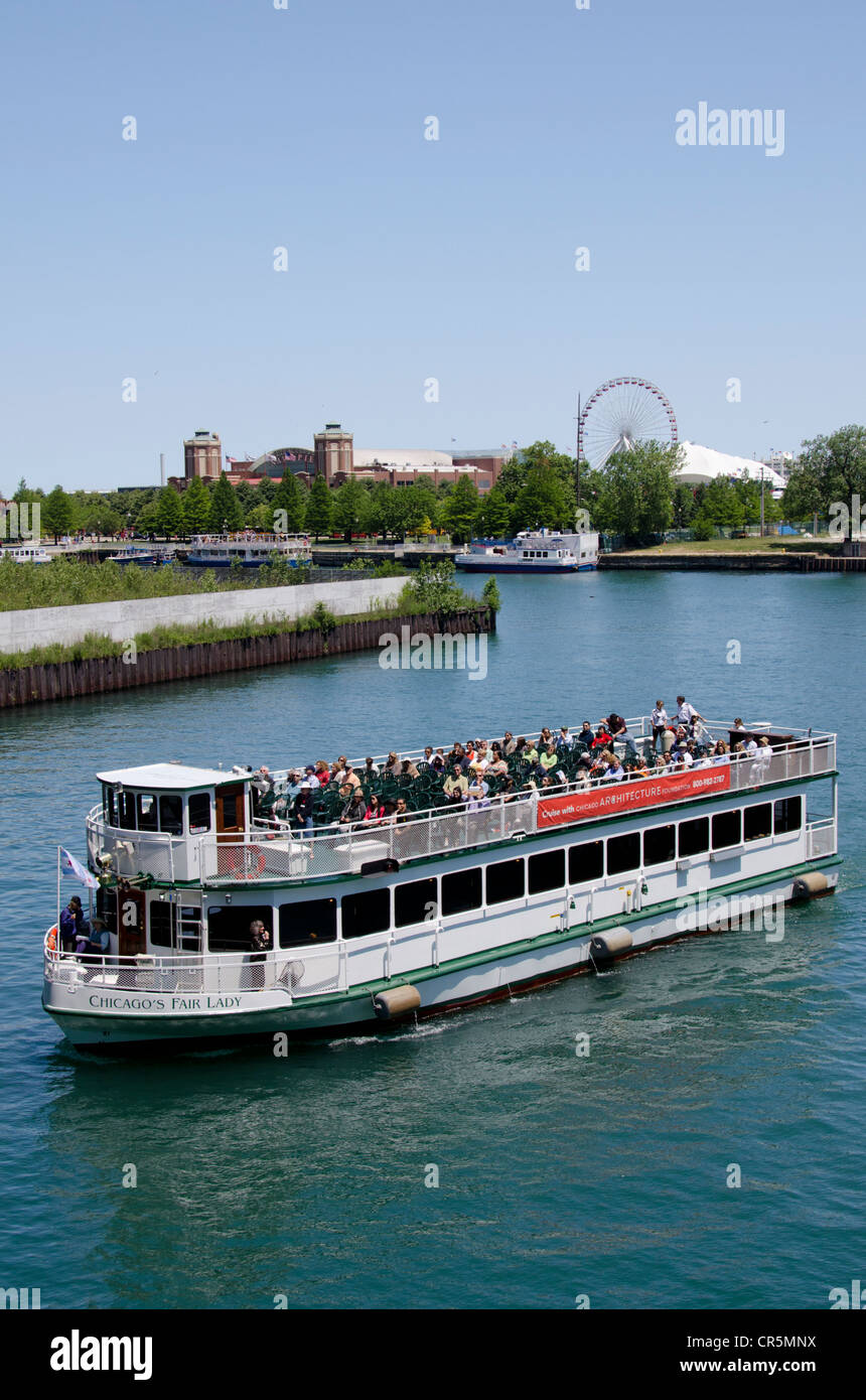 Illinois Chicago Sightseeing Tour Boat In Front Of Navy