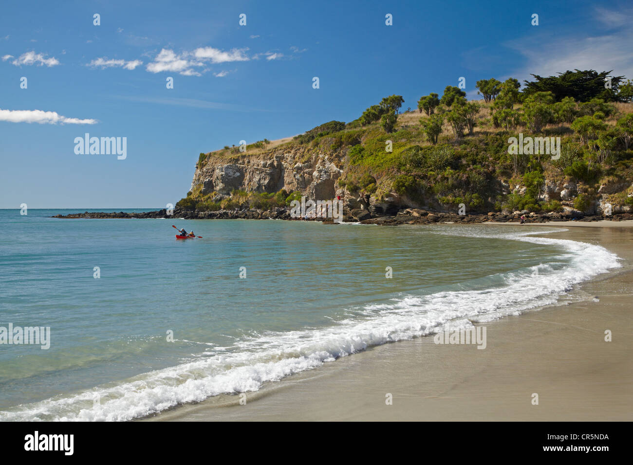 Beach by Doctors Point and Mapoutahi Pa, Historic Maori Pa Site, north of Dunedin, South Island, New Zealand Stock Photo