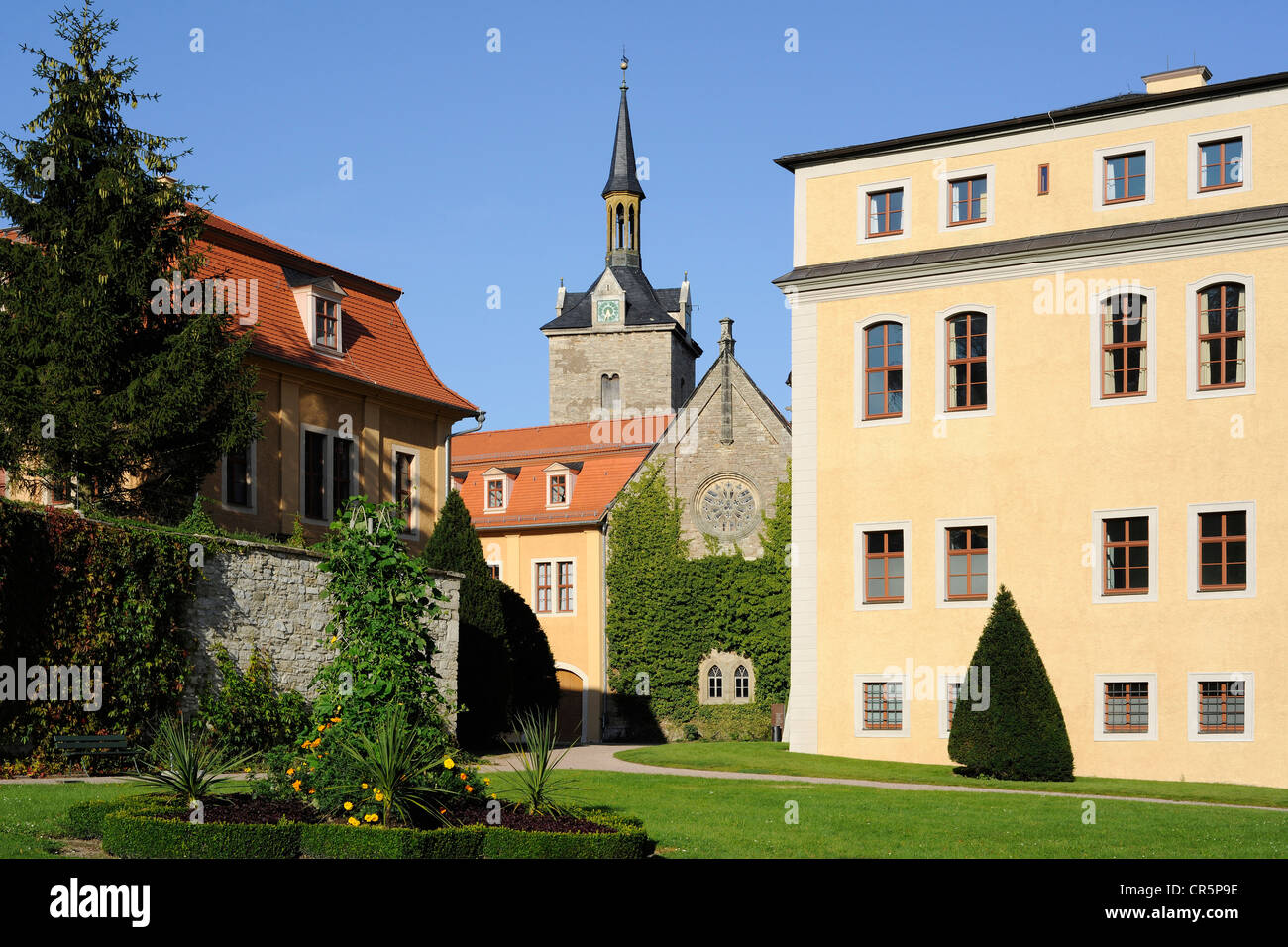 Schloss Ettersburg Castle with the monastic church near Weimar, UNESCO World Heritage Site, Classical Weimar, Thuringia - Stock Image