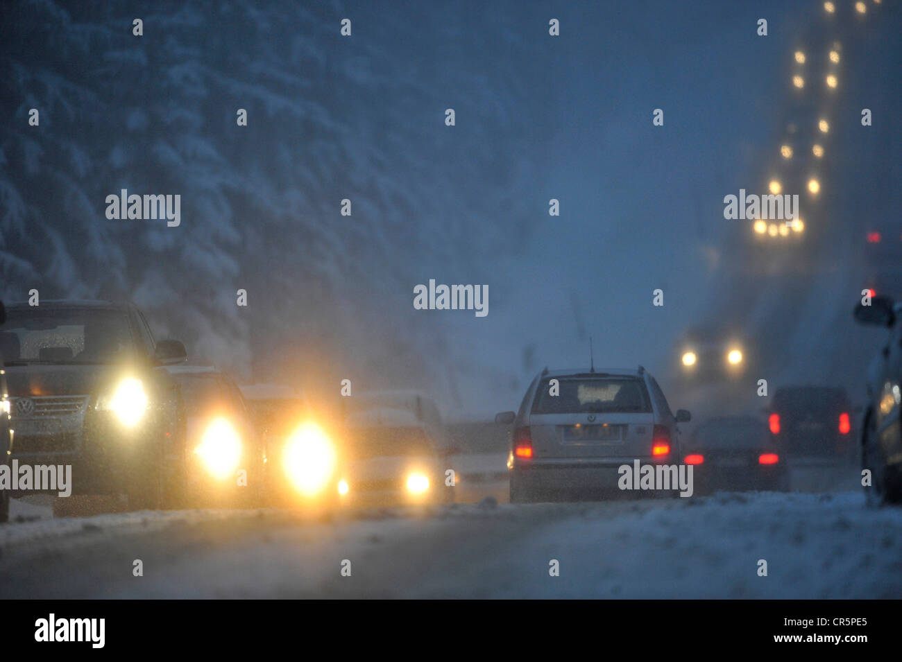 Snow chaos on the B4 federal highway in Harz near Torfhaus, Lower Saxony, Germany, Europe - Stock Image