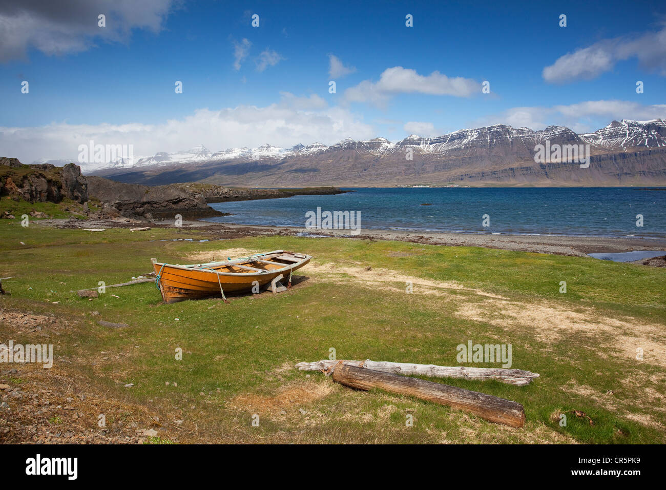 Boat at the East Fjords, Iceland, Europe - Stock Image