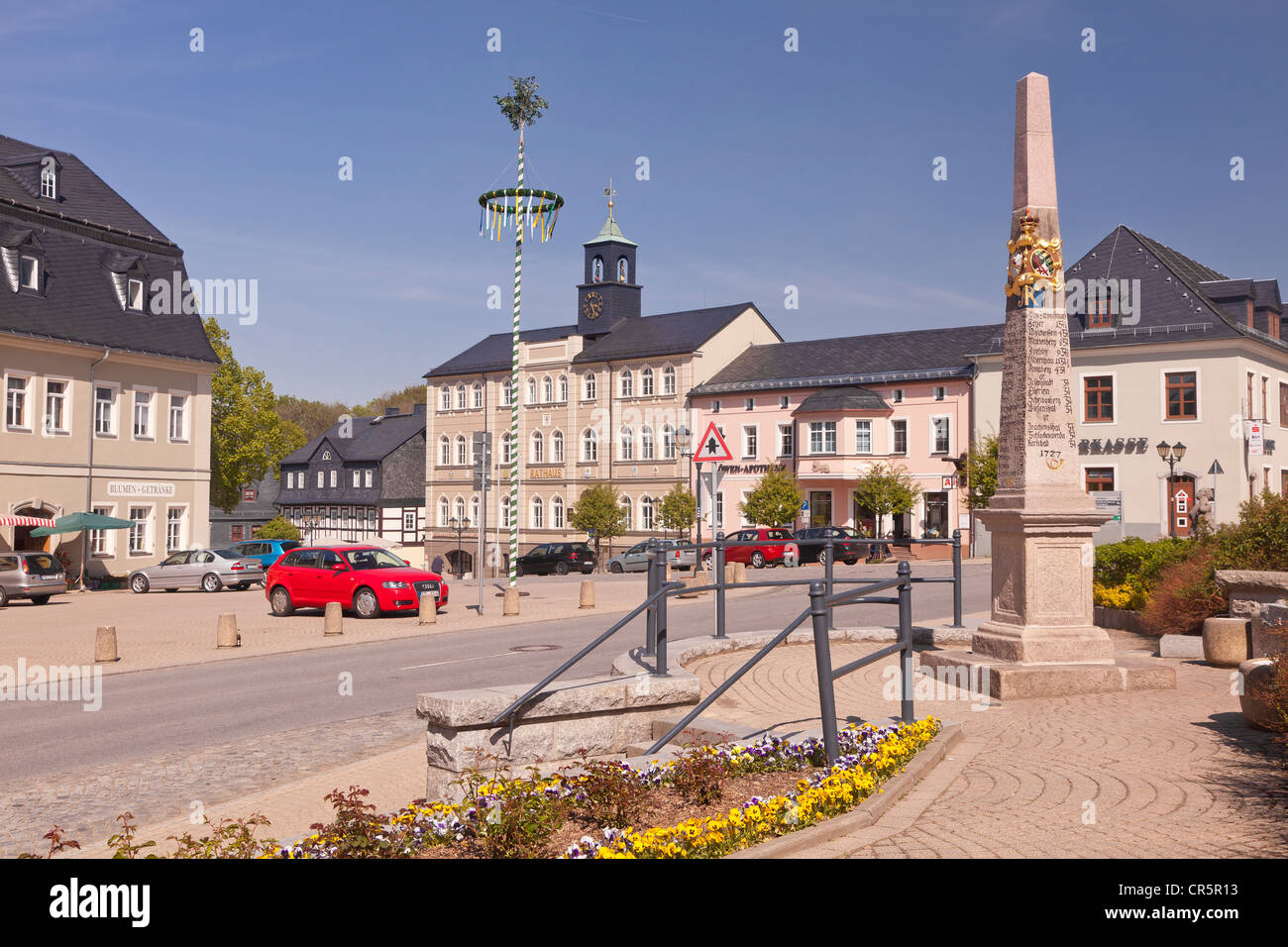 Marketplace with Town Hall, the post mile pillar and a maypole, Zwoenitz, Saxony, Germany, Europe - Stock Image