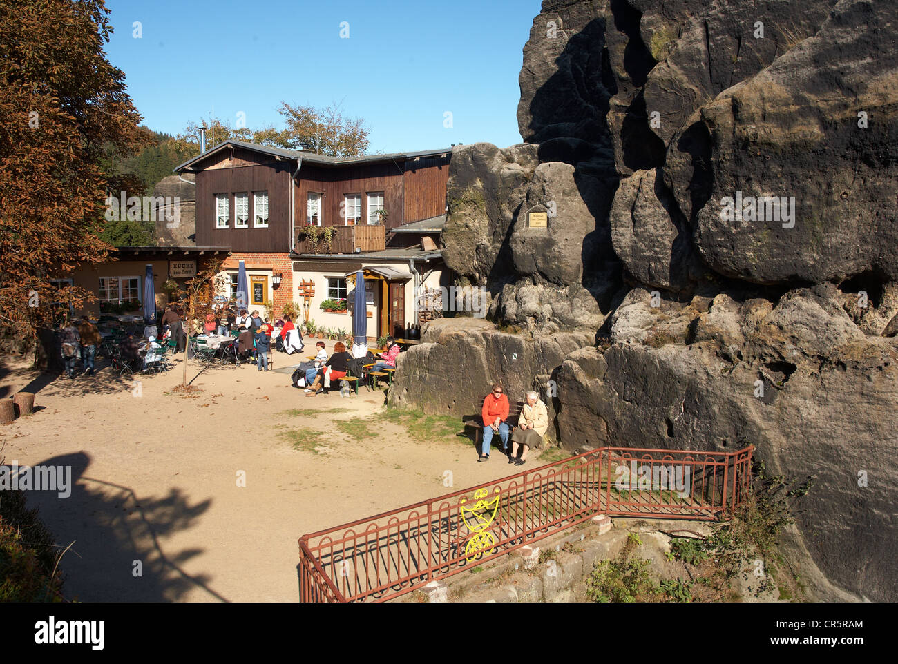 Restaurant on the Nonnenfelsen rock, autumn landscape, sandstone and rock climbing, Jonsdorf the Zittauer Gebirge Stock Photo