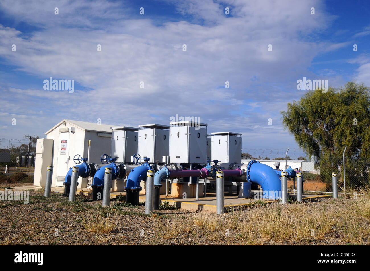 Pumping station with purple pipes containing water recycled from Adelaide's sewage, Virginia, near Adelaide, South Stock Photo