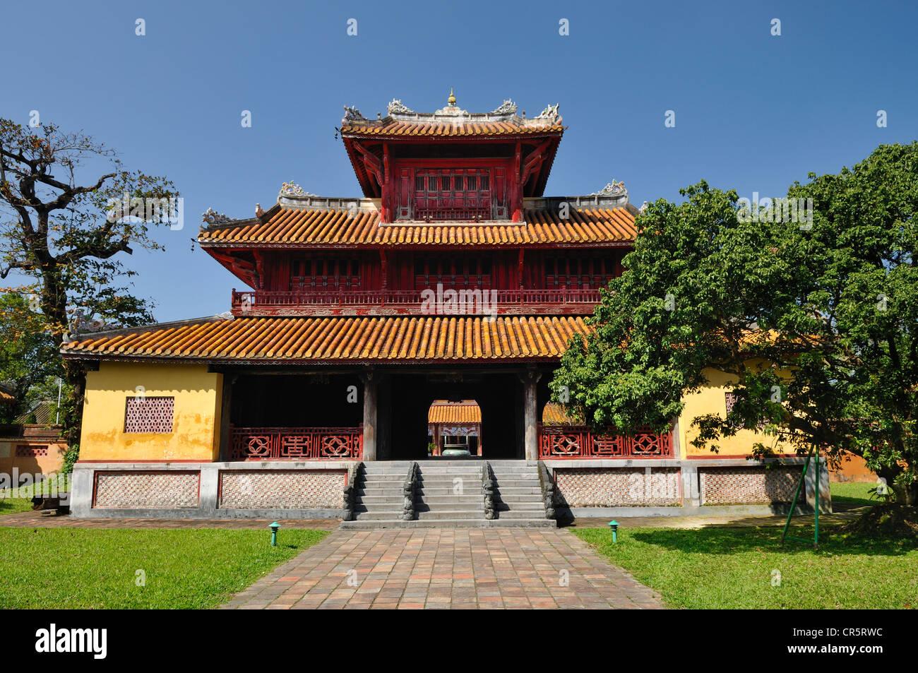 Hien Lam pavilion in the citadel, Mandarin halls, Hoang Thanh Imperial Palace, Forbidden City, Hue, UNESCO World - Stock Image