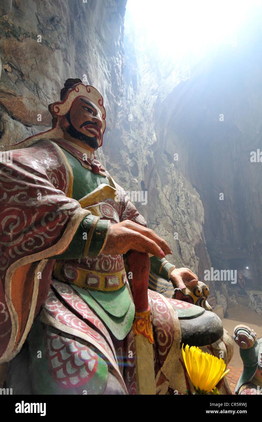 Guardian figure, patron deity, Huyen Khong cave, Marble Mountains or Ngu Hanh Son, Thuy Son, Da Nang, Vietnam, Asia - Stock Image