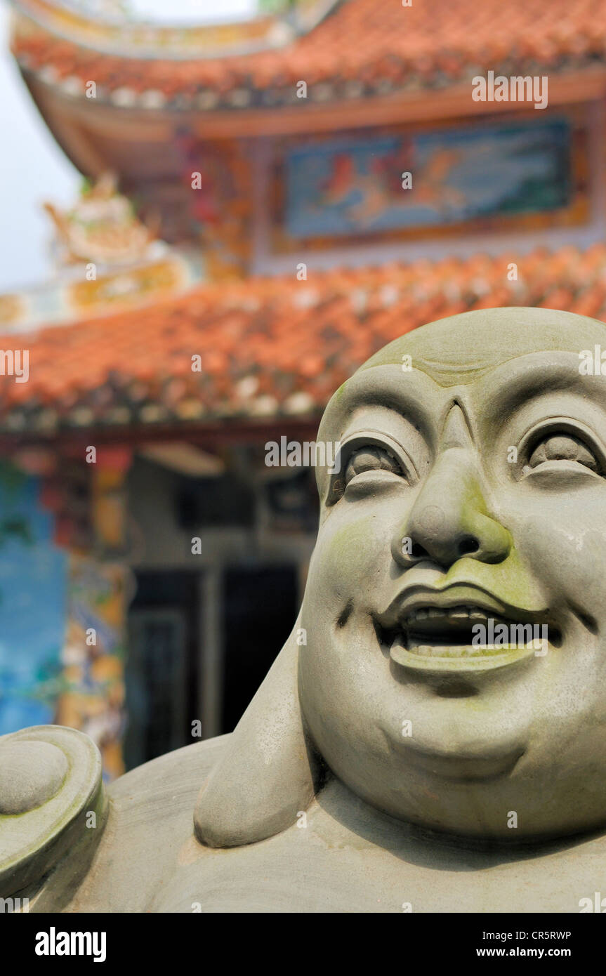 Laughing Buddha, sculpture, Ngu Hanh Son, Thuy Son, Da Nang, Vietnam, Asia - Stock Image