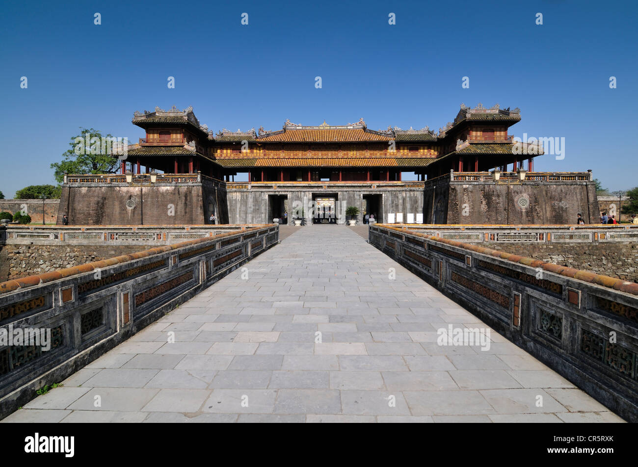 Morning gate, Ngo Mon Gate, main entrance to the Imperial Palace Hoang Thanh, Forbidden City, Hue, UNESCO World - Stock Image