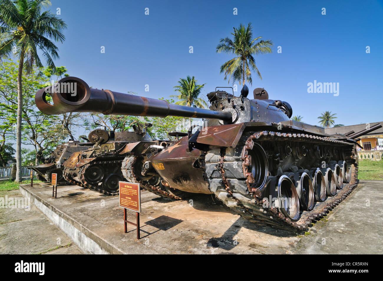 M48 tank from the Vietnam War, Vietnam Liberation Army artillery, Hue, Vietnam, Asia - Stock Image