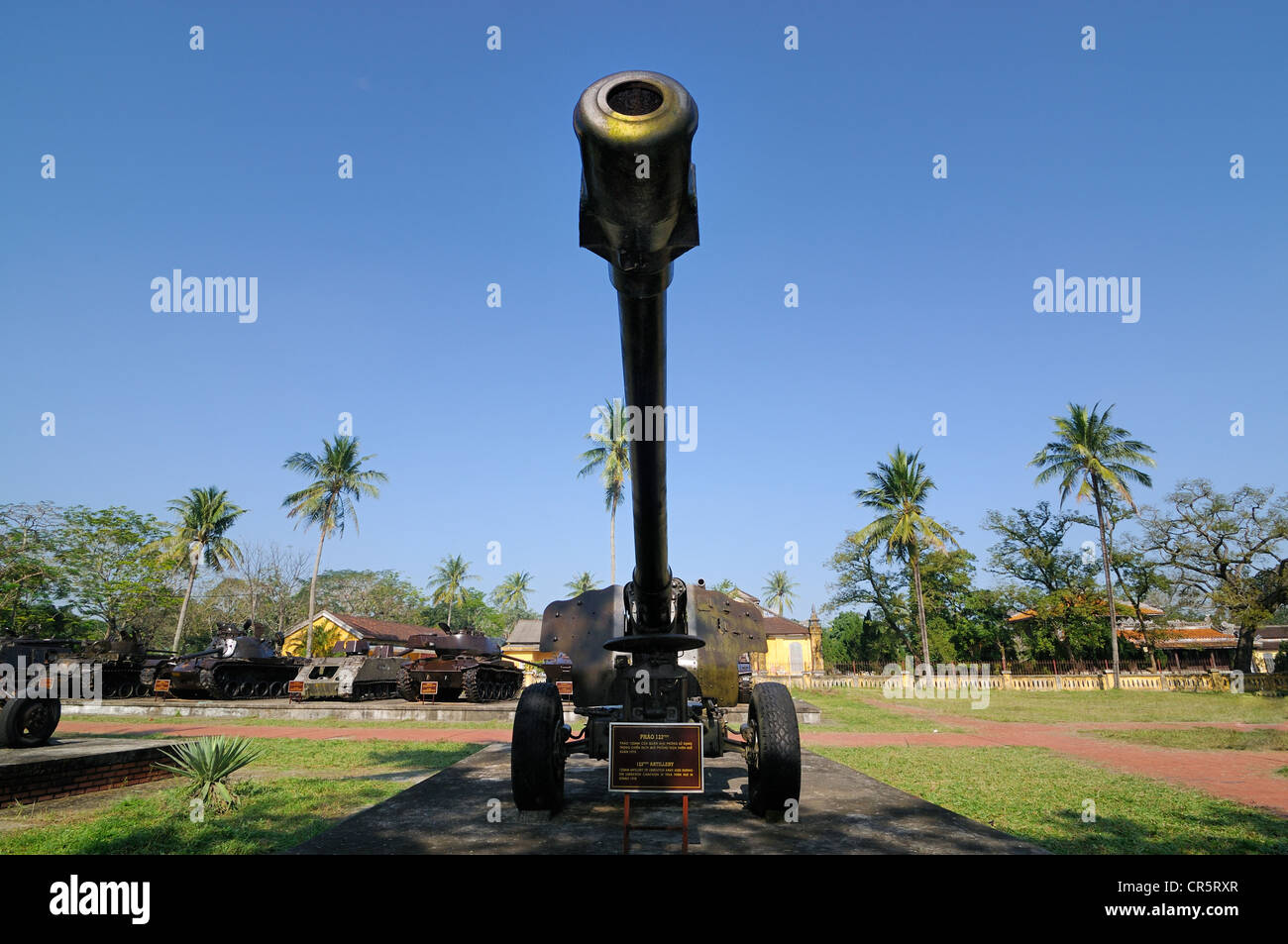 Cannon from the Vietnam War, 122 mm artillery of the Vietnamese liberation army, Hue, Vietnam, Asia - Stock Image