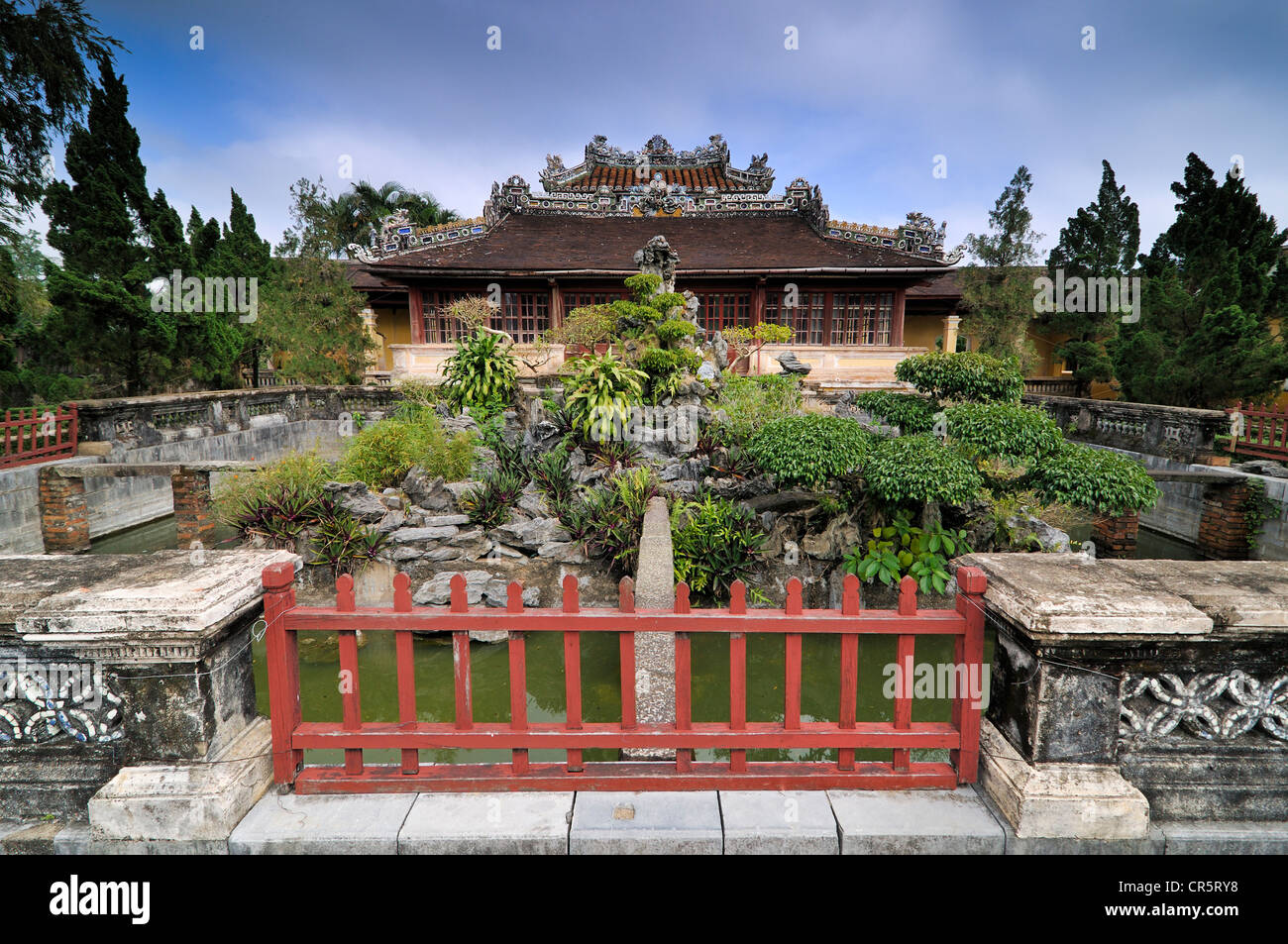 Bonsai garden in front of the library in the citadel, Mandarin halls, Hoang Thanh Imperial Palace, Forbidden City, - Stock Image