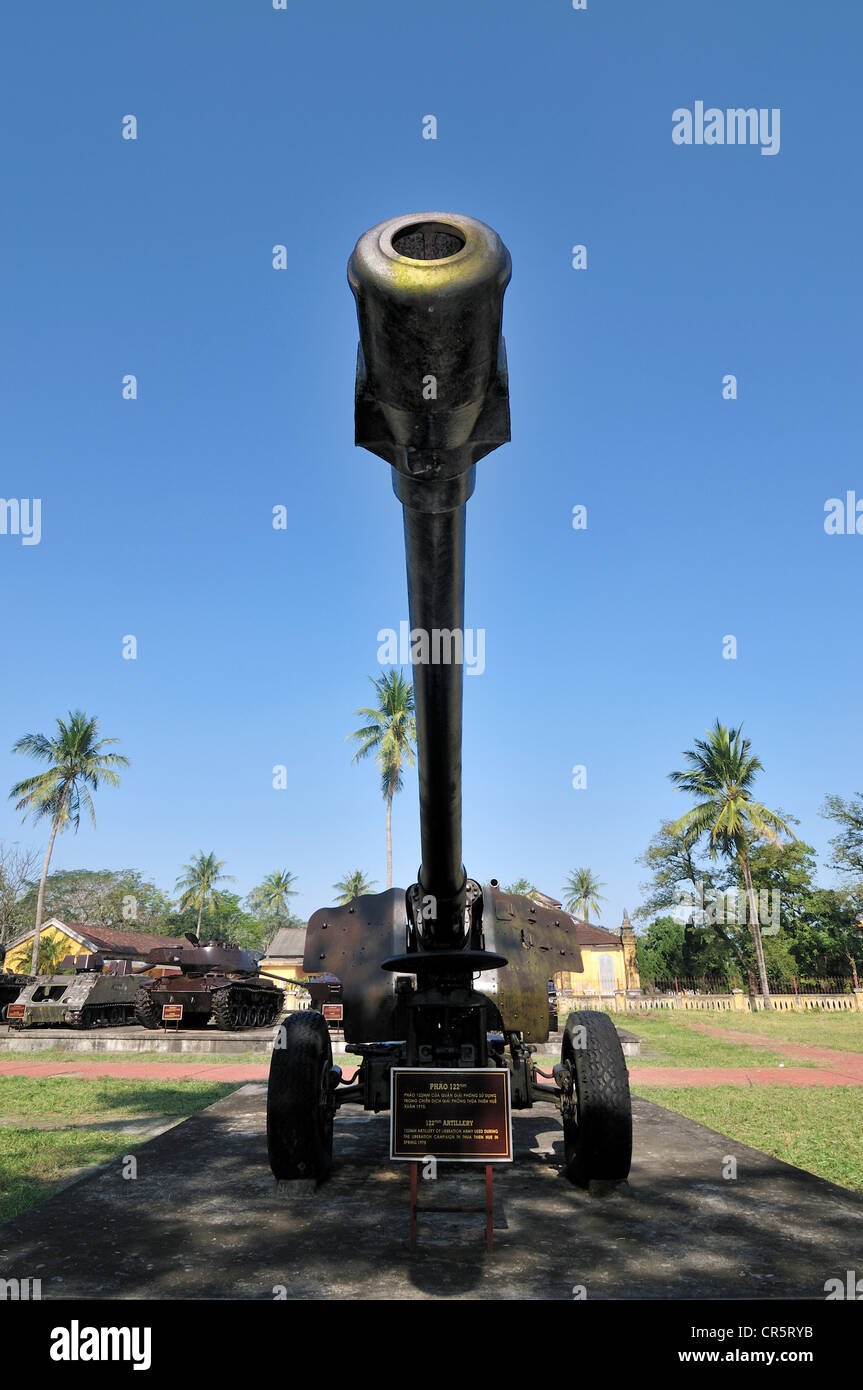 Gun from the Vietnam War, 122 mm artillery of the Vietnamese liberation army, Hue, Vietnam, Asia - Stock Image