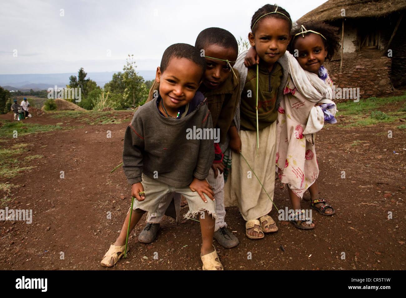 Children in Lalibela, Ethiopia, Africa - Stock Image
