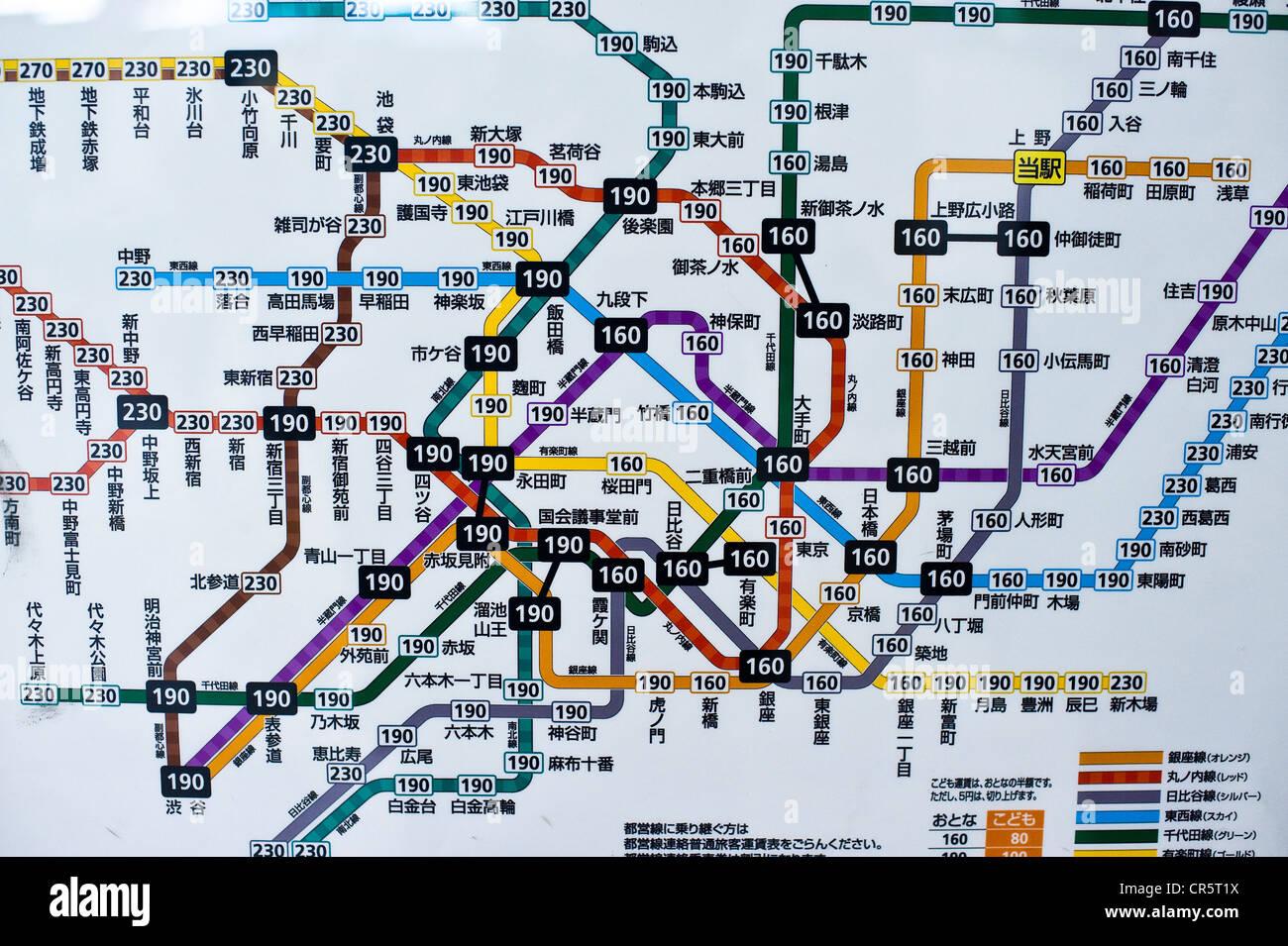 Japan, Honshu Island, Tokyo, Akihabara District, map of the subway