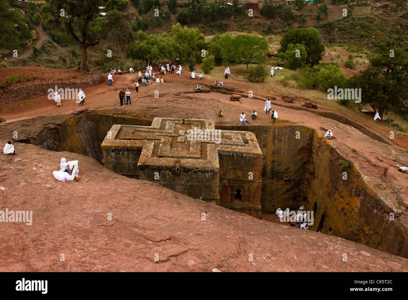 Bet Giyorgis Rock-Hewn Church, Lalibela, Ethiopia, Africa - Stock Image