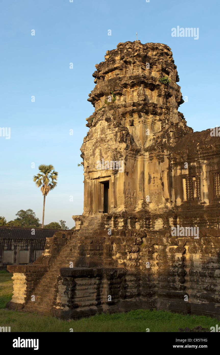 Corner tower of the Bakan level, Angkor Wat temple complex, Siem Reap, Cambodia, Southeast Asia, Asia - Stock Image