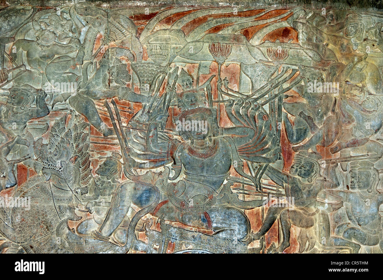 Part of the bas-relief in the West Gallery depicting scenes of the battle of Kurukshetra from the Hindu epic Mahabharata, - Stock Image