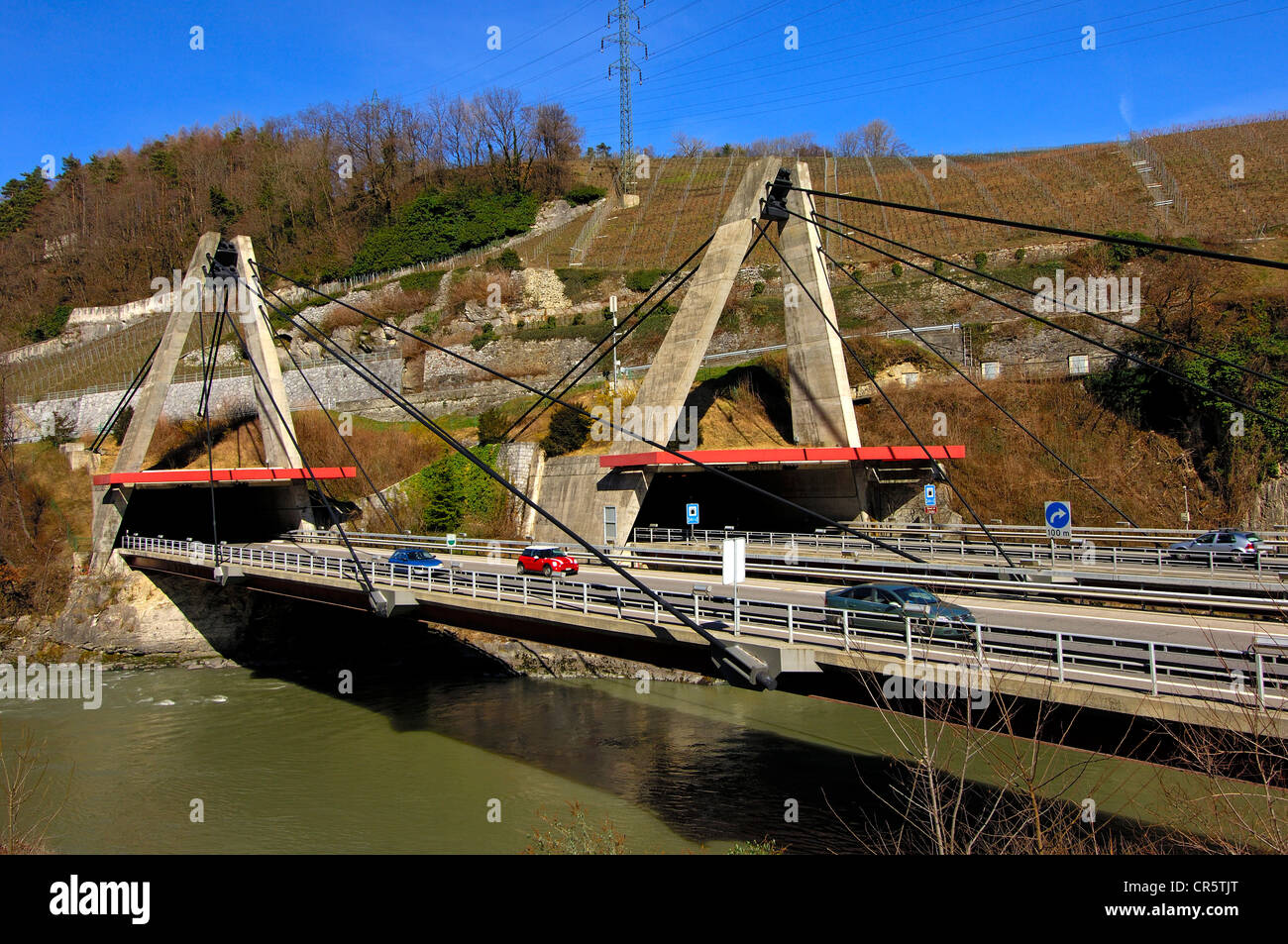 Arzilli-road tunnel on the A9 motorway and highway bridge across the Rhone at Saint-Maurice, Vaud, Switzerland, Stock Photo