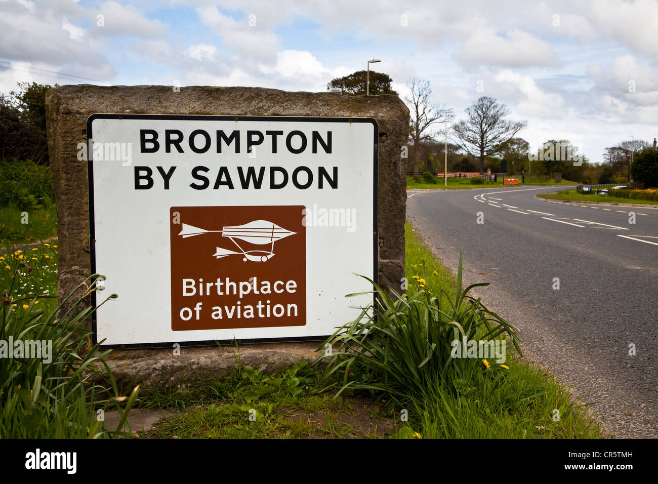 Brompton by Sawdon road sign. - Stock Image