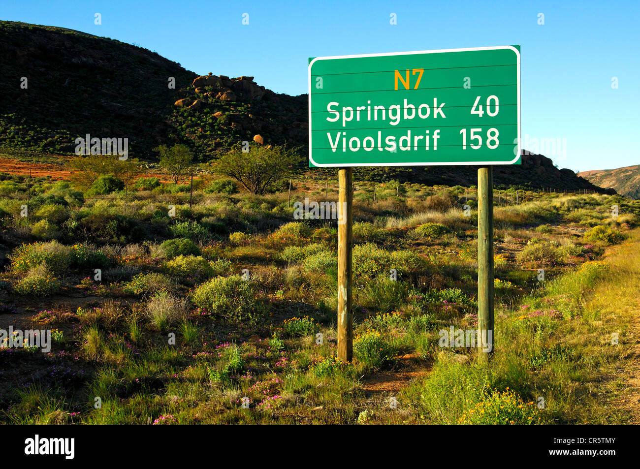 Street sign with the distances to Springbok and Vioolsdrif on the National Road N7, Northern Cape, South Africa, - Stock Image