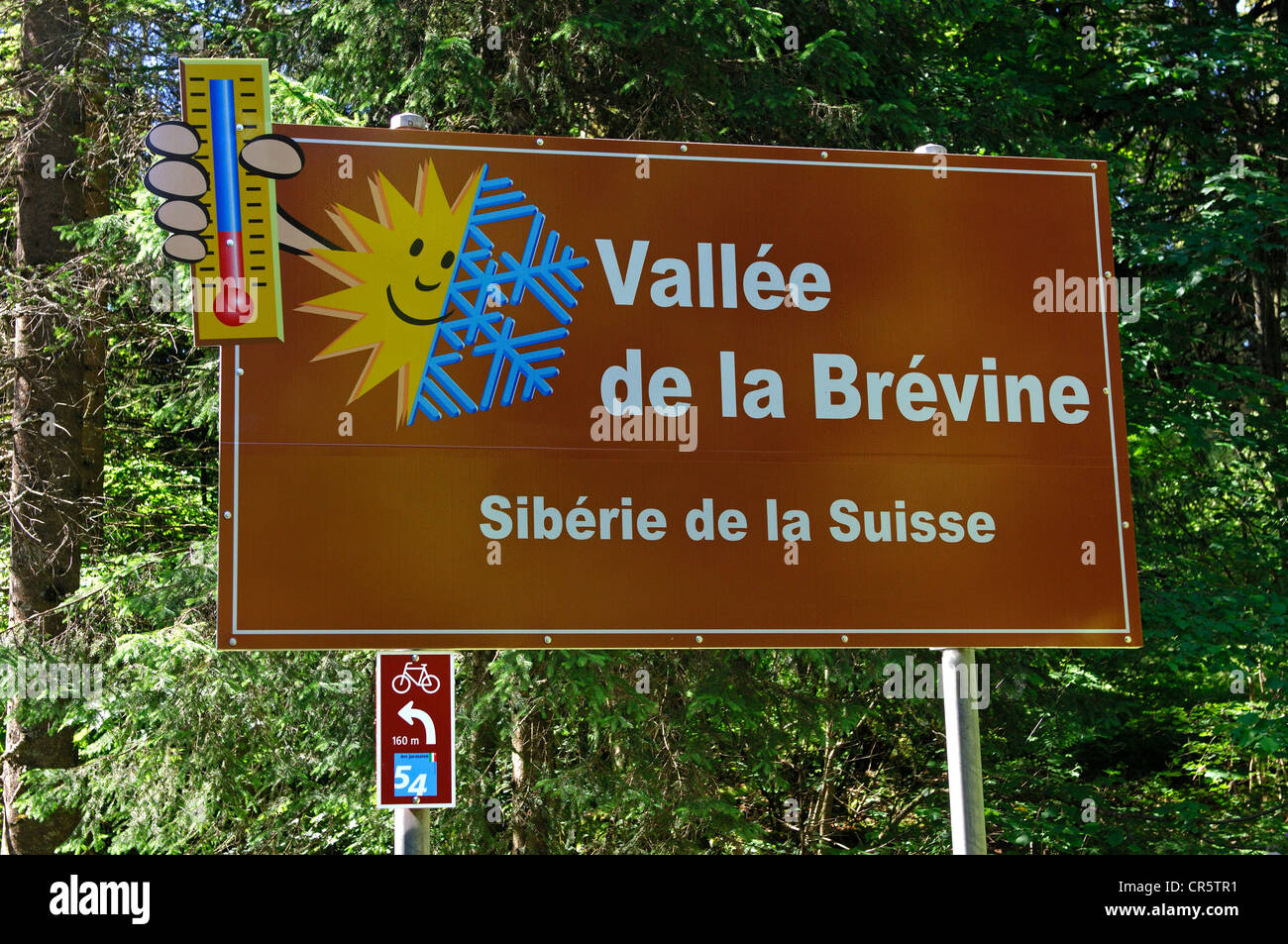 Sign at the entrance to the Vallée de la Brévine valley, due to local climatic extremes also called the - Stock Image