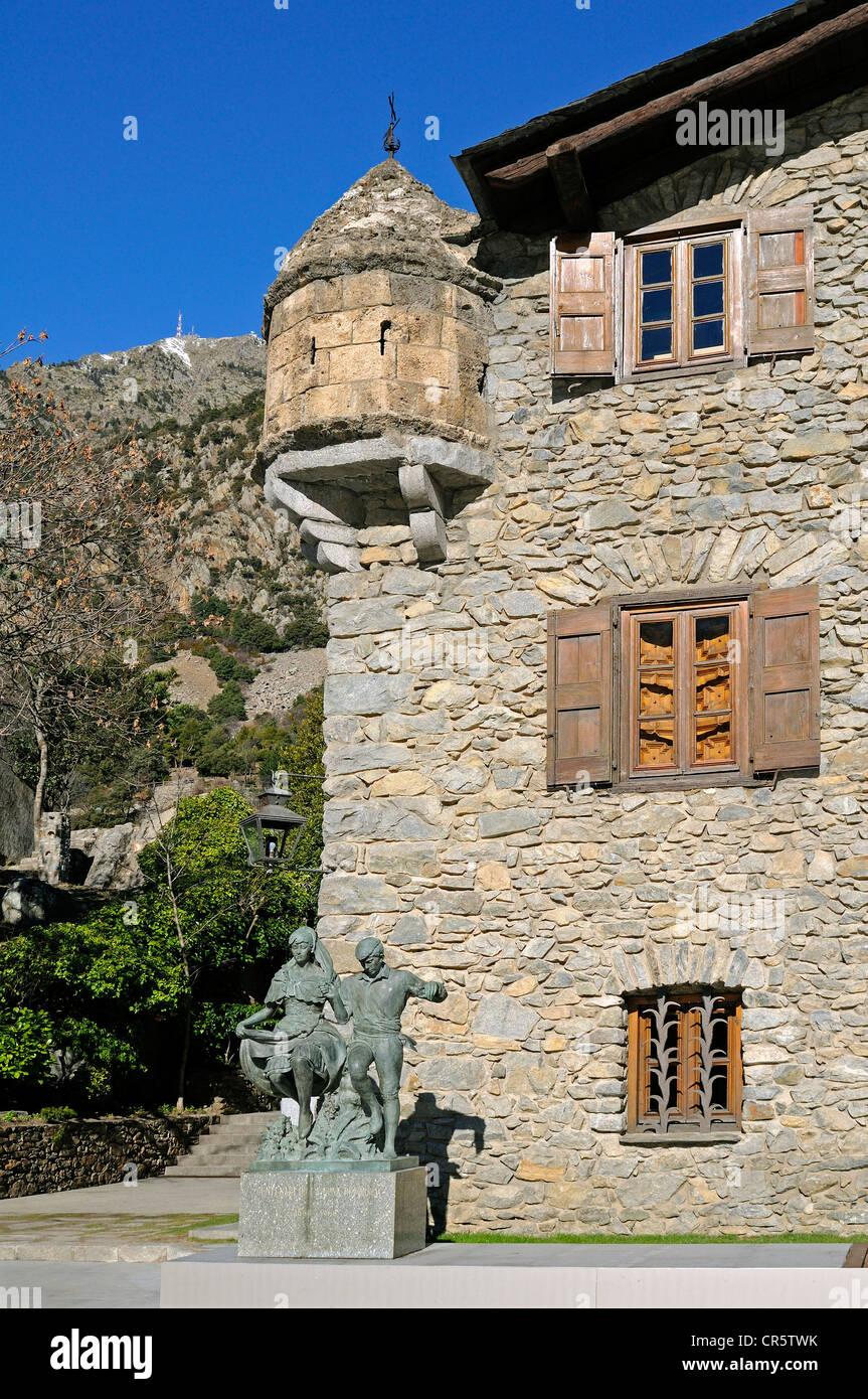 Casa de la Vall, the seat of the Parliament of Andorra, the smallest European Parliament, Barri Antic, Andorra La Stock Photo
