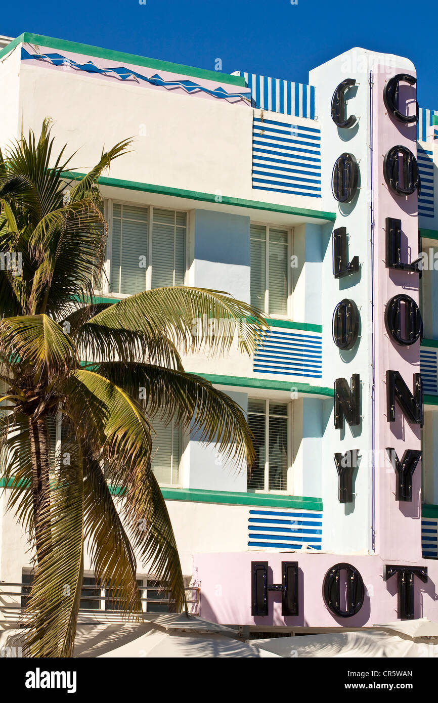 United States, Florida, Miami Beach, South Beach, Art Deco District, Ocean Drive, Colony Hotel built in 1935 by - Stock Image