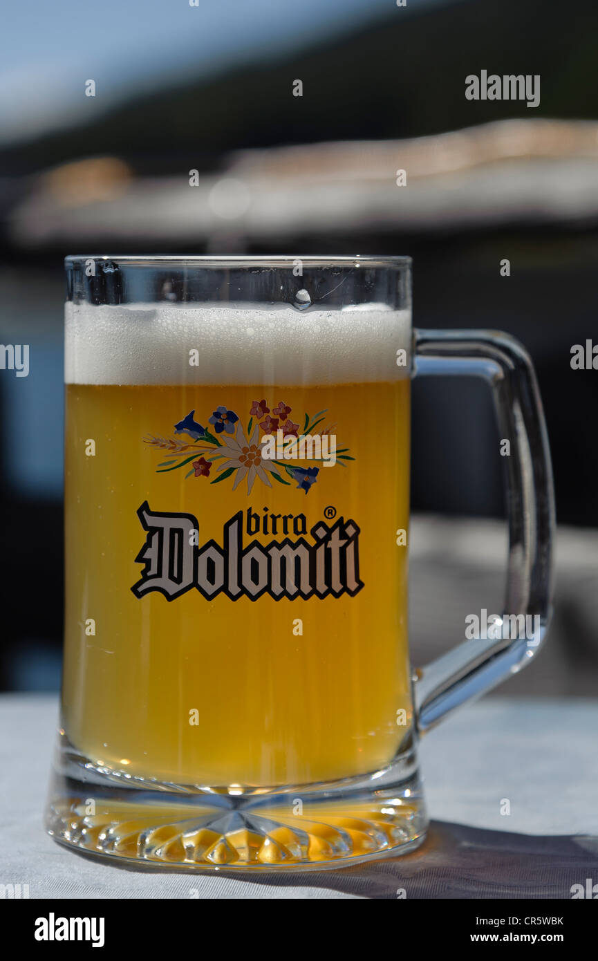 Birra Dolomiti, beer mug, Dolomites, South Tyrol, Italy, Europe - Stock Image
