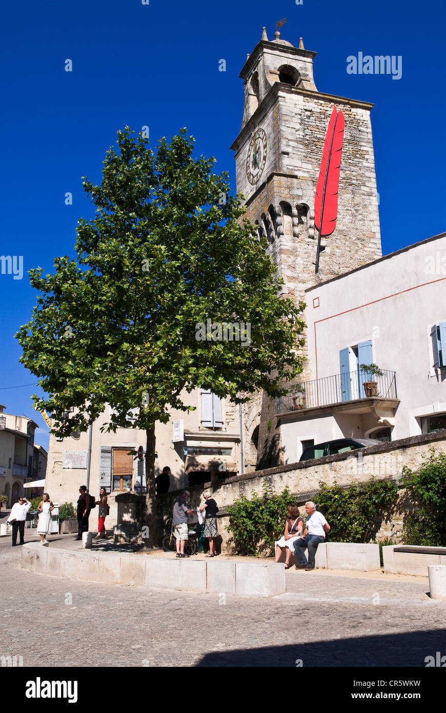 France, Drome, Drome provencale, Grignan, the Porte du Tricot Tower heightened in 1600 to allow the installation - Stock Image