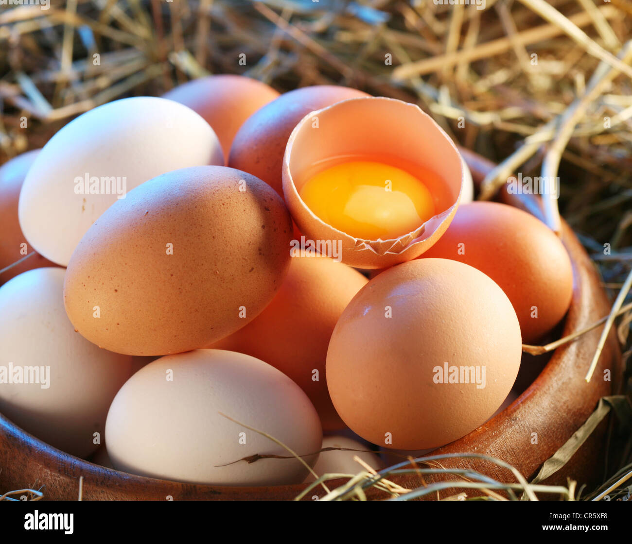 Chicken eggs in the straw. One egg is broken. - Stock Image