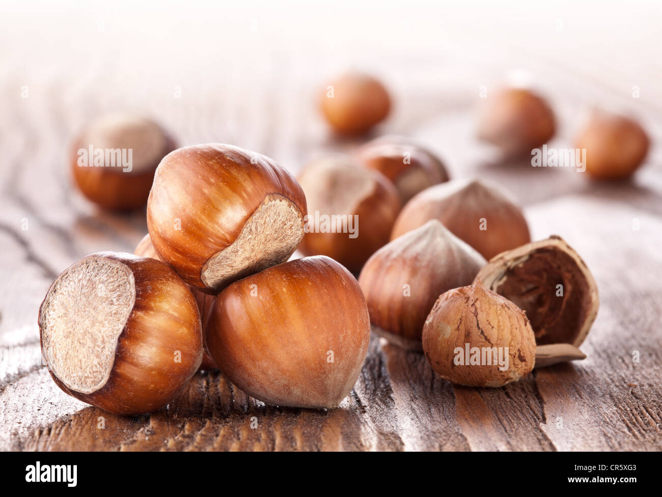 Filberts on a wooden table. Close-up shot. Stock Photo