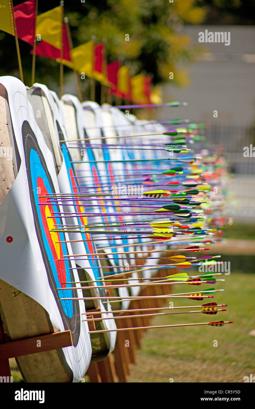 Arrows in  archery targets Stock Photo
