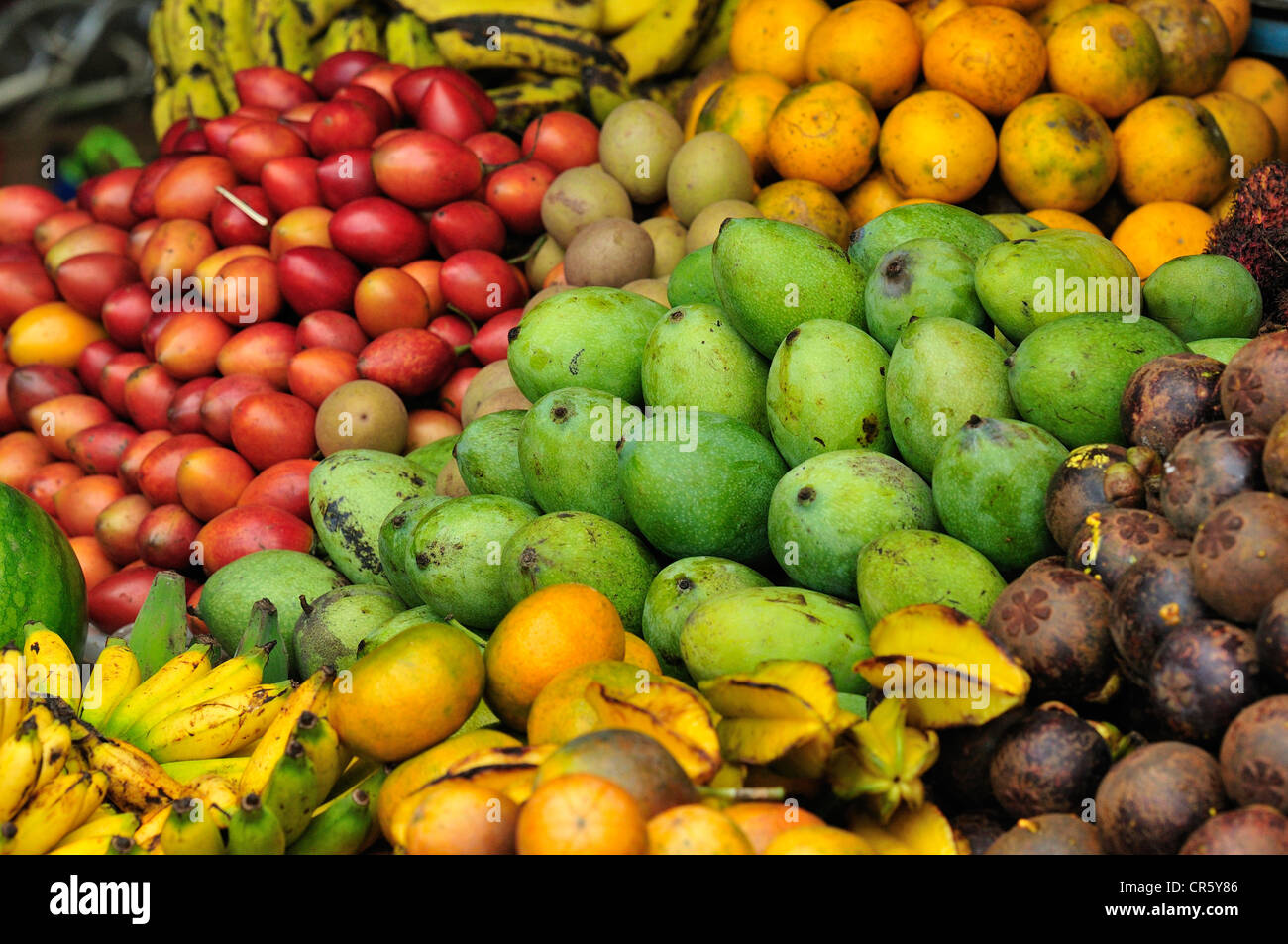 Tropical fruits, Tegallalang Market, Ubud, Bali, Indonesia, Asia - Stock Image